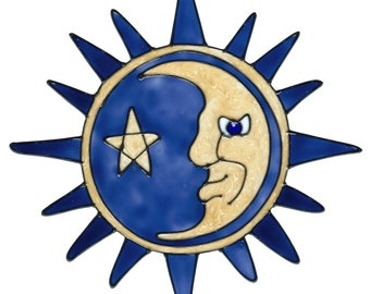 Denim Blue Sun And Moon Faux Stained Glass Window Cling