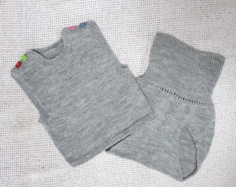 Wool Knit High Weist Diaper Cover with Vest - 9-12M Ready to Ship