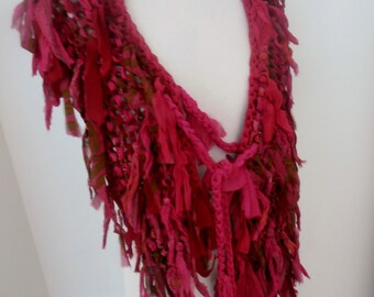 recycled silk  chiffon boho chic little tattered scarf  lots of pink cerise magenta handknitted by plumfish