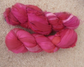 200 grams 2 skeins recycled silk   ribbon  knitting crochet craft embellishment yarn pinks