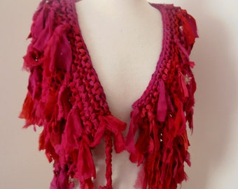 recycled silk  chiffon boho chic little tattered collar capelet scarf  rich pinks and reds handknitted by plumfish