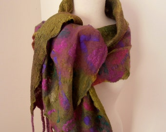 Nuno felted Merino Silk scarf wrap by plumfish green plum