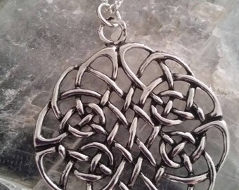 Large American Pewter Celtic Knot Pendant Necklace