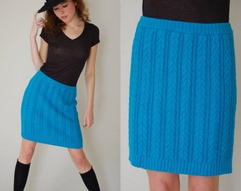 SALE SALE Sweater Mini Skirt Vintage 80s Teal Green Sweater Knit CONTEMPO Casuals Indie Boho Micro Mini Skirt (s m)