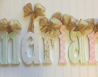 Wall letters Wall Decor Laudree Paris theme Decor children  babies room Decor hanging letters wood letters Gold Pink Seafoam Green Baby Kids