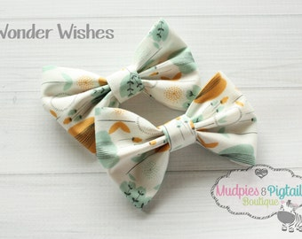 Fabric Bow Hair Clip or Set { Wonder Wishes } Gray, cream, mustard, modern baby, hair bow, alligator clip flower clips, photography prop
