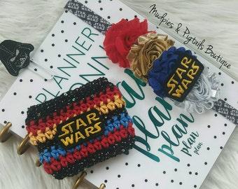 Planner band, Clip or Coffee Cozies, Star Wars, Darth Vader elastic headband or clippie, happy planner, mambi, erin condren, filofax, kikkik