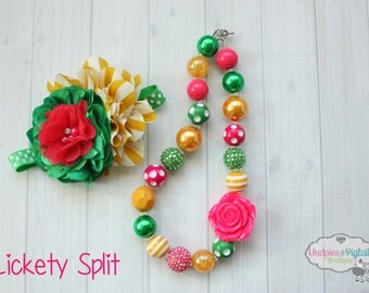 Easter { Lickety Split } John Deere, tractor, pink green, toddler chunky necklace or baby headband Birthday cake smash photography prop