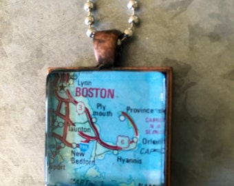 Boston Silver Chain Pendant with Vintage Map Copper *Boston