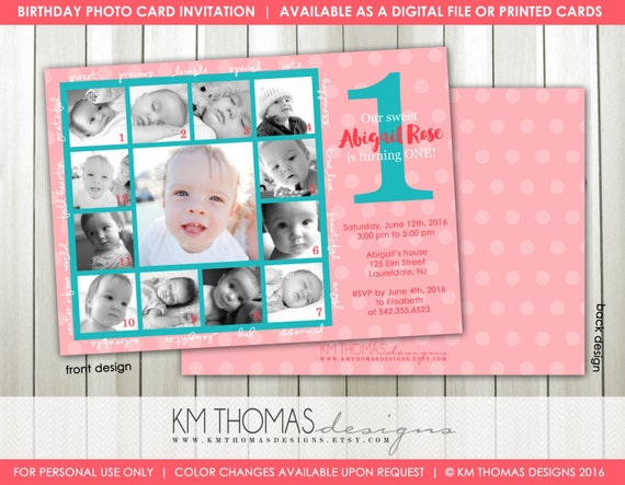 1st birthday photo birthday invitation printable collage birthday il570xn bookmarktalkfo Gallery