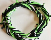 T Shirt Scarf - Infinity Circle Scarves Recycled Cotton - Lime Green Apple Chartreuse Tie Dyed White Black Bright