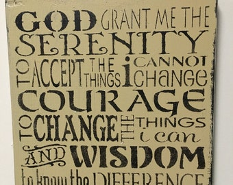 Hand Painted Wood Sign Serenity Prayer Subway Primitive Made To Order Shabby