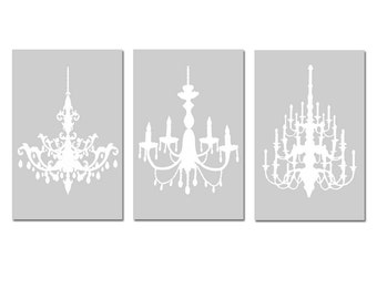 Chandelier Wall Art Chandelier Decor Trio - Set of Three 11x17 Chandelier Prints - Teen - CHOOSE YOUR COLORS - Pale Gray, Yellow and More