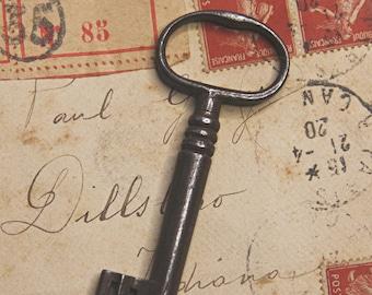 Vintage Large SKELETON Barrel Key for Steampunk Found Object Jewelry Altered Art