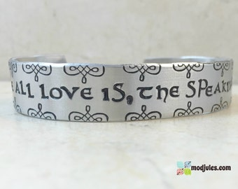 Celtic Cuff, Sassenach Cuff, Sassenach Bracelet, For where all love is, the speaking is unnecessary, Celtic Bracelet, Celtic Jewelry