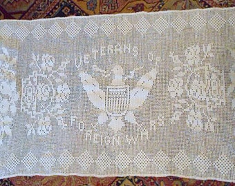 "AMERICAN EAGLE Dresser SCARF Table Runner, Vintage Crochet Lace, Detailed Veterans of Foreign Wars Keepsake White Cotton Stitches, 18"" x 54"""