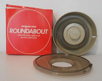 Vintage Slide Carousel Argus 100 Roundabout with Box Pictures Photography Holder