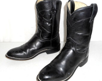 Black Justin Roper cowboy boots young mens size 4 D / womens sz 5.5 western boho