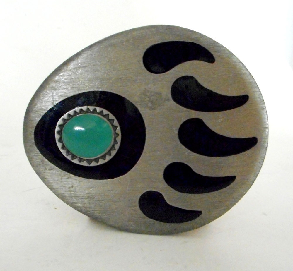 native american bear claw symbol belt buckle turquoise