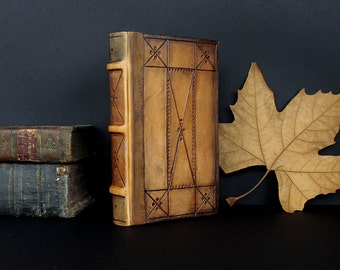 "Leather Bound Book, Natural Brown Leather, Tooled Decoration - ""Tea Time"""