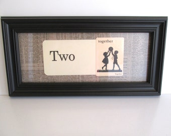 Vintage Framed Flash Cards Two Together Black Frame Home Decor Wedding Love