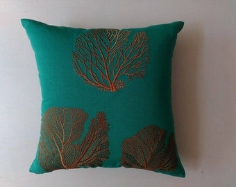 Jade green and orange coral fan embroiderd pillow.Three fan corals in  one top one is  in  bronze  matalic. 24 inch  can  be  custom made