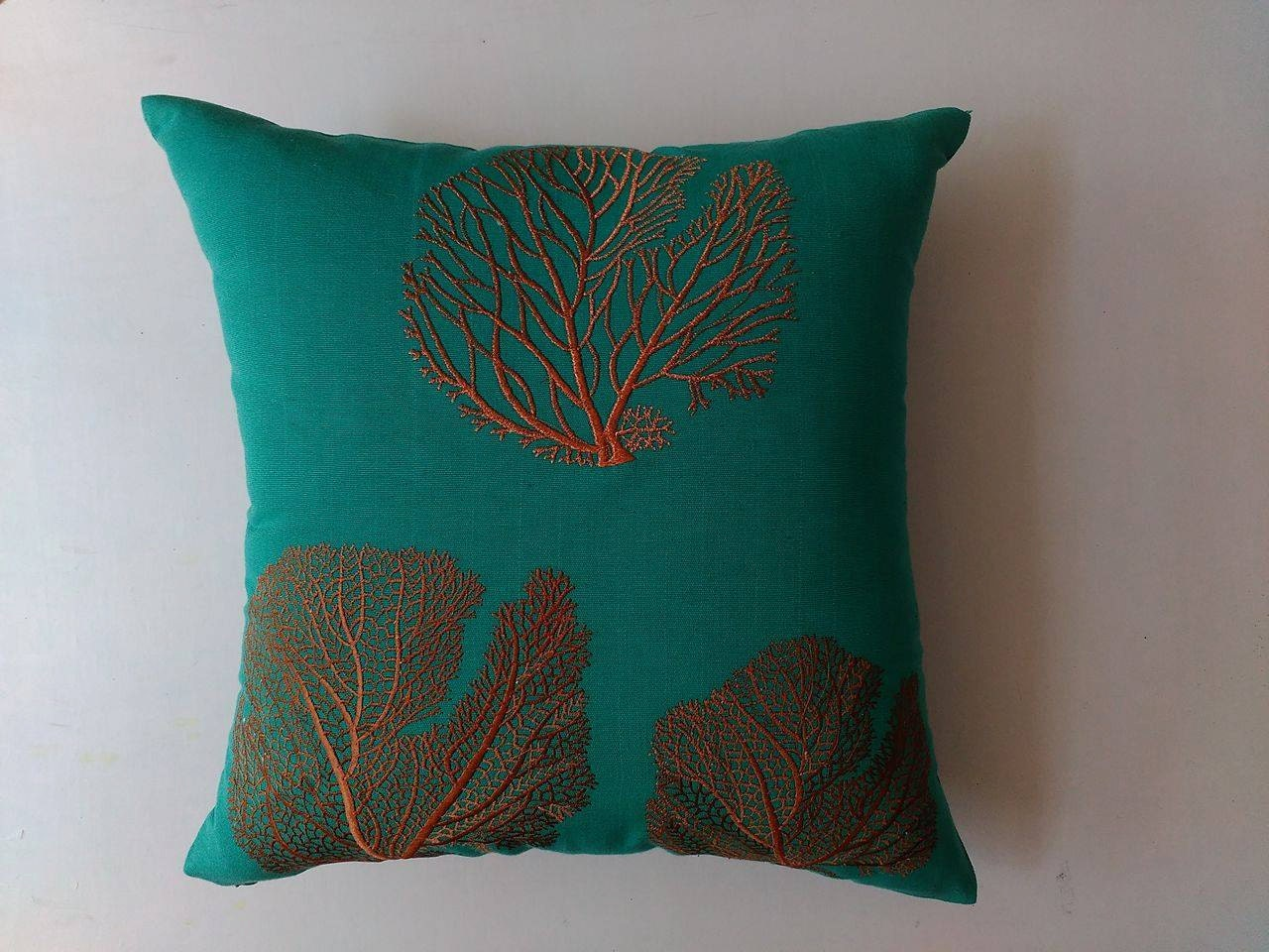 Jade Green Throw Pillow : Jade green and orange coral fan pillow cover. Bronze coral