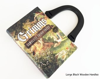 Grimm Complete Fairy Tales Book Purse - Your Choice of Purse Handle - Fairy Tales Pocket Book