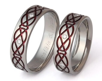 Irish Celtic Titanium Wedding Band Set - Red Celtic Knot Pattern - stck43