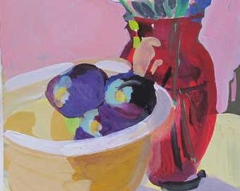 Purple Plums and Red Vase - gouache watercolor painting paper -artist Linda Hunt - impressionism - impressionistic - floral red vase plum