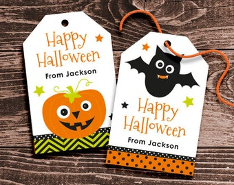 Personalized Halloween Gift Tags for Kids – DIY Printable – Spooky Friends – Hang Tags (Digital File)