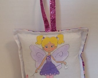 Tooth Fairy Pillow - Girl Fairy with blonde hair  - Hand Painted -  Name added FREE
