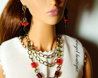 Multi-strand Necklace Links with Red, Dark Brown & Black Cubes on Antique Brass Chains