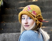 Felt Hat Felted Hat Cloche hat Felted wool hats Womens winter hats Felt hat for women unique felt hat Hat Felt hats Felt Cloche RESERVED