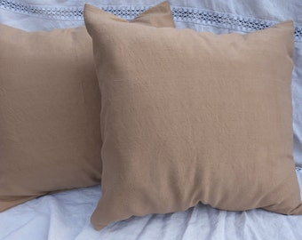 "Silk Pillow Covers Natural Dye Light Brown Walnut Tan Vintage Silk Walnut Brown Tan Pillow Covers 18""x18"" Lined Duopionni Silk Pillow Cases"
