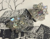 Vintage  Cluster Silver tone Glass Aurora Borealis Beaded Clip on earrings Wedding Bridal