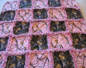 Pink and Brown Real Tree Camoflauge Baby Girl Rag Quilt Blanket 35x35