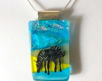 Fused Dichroic Glass Zebra Pendant with Silver Chain