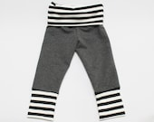 Charcoal Heather / Black and White Striped Skinny Sweats
