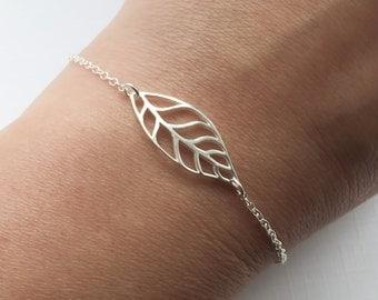 Sterling Silver Leaf Bracelet - Adjustable Leaf Bracelet