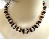 Vintage Art Deco Czech Bohemian Glass Crystal Necklace in Clear and Amber