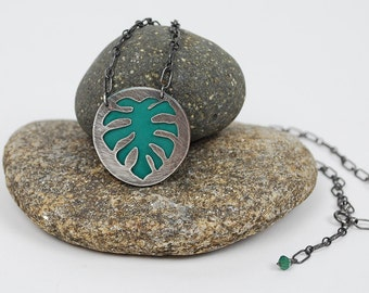 Monstera Plant Love--hand cut recycled silver layered over enameled copper