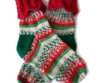 Socks - Hand Knit Women's Christmas Socks - Size 6-7 - Holiday Socks -Xmas Socks