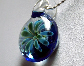 Sea Anemone 3D Flower over Pale Blue - Handmade Glass Lampwork Pendant SRA