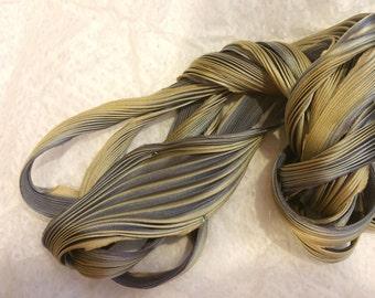 1 yd Shibori Ribbon Hand Dyed Silk Ribbon Tarnished Silver Darker