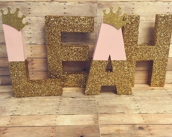 Vintage block letters Gold Glitter Letters glitter bowtie glitter center piece glitter dipped letters personalized baby gifts bling