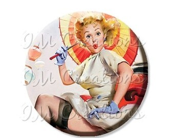 """30% OFF - Pocket Mirror, Magnet or Pinback Button - Wedding Favors, Party themes - 2.25""""- Vintage Pinup Parasol MR246"""