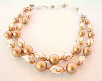 Deauville Multi Strand Beaded Necklace Vintage Beads Goldtone White Adjustable Length