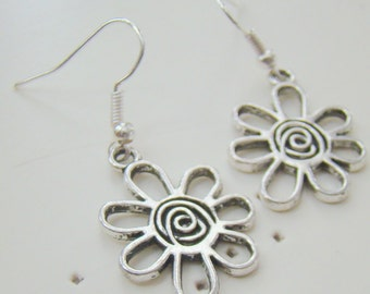 Modern Flower Earrings, Tibetan Silver Earrings