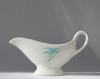 Vintage Idlewild Airport International Hotel Sauce Boat, Mayer China, MCM design, P.O.N.Y.A., Dorothy Draper